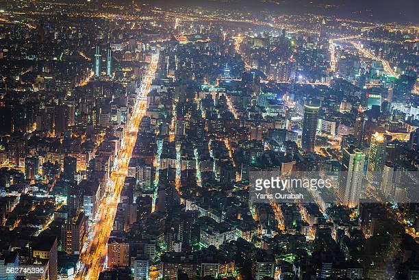 Night view from Taipei 101 skyscraper  in Taipei