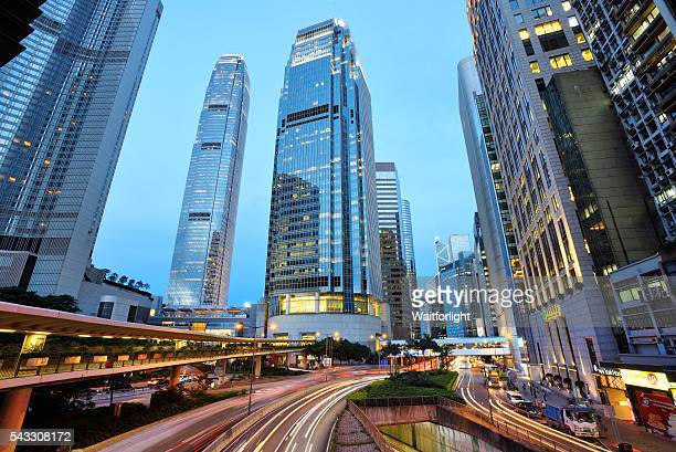 night view in central of hong kong. - two international finance center stock pictures, royalty-free photos & images