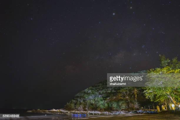 night view in sibu island of johor, malaysia - shaifulzamri stock pictures, royalty-free photos & images