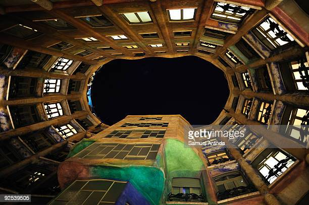 A night view inside 'La Pedrera' building on October 30 2009 in Barcelona Spain Casa Mila better known as La Pedrera is a building designed by the...