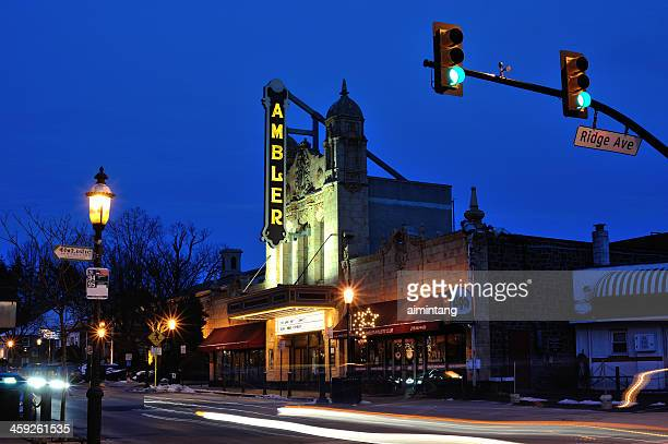 night view of ambler in pennsylvania - montgomery county pennsylvania stock pictures, royalty-free photos & images