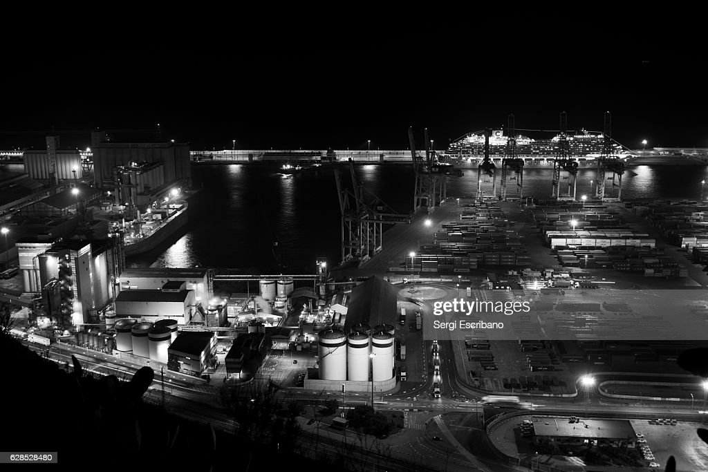 Night View Of An Industrial Landscape Stock Photo