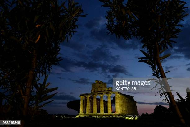 A night view of Athena Temple inside archaeological park of Paestum southern Italy