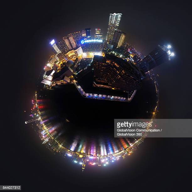 night view of avenue of stars, hong kong - little planet format stock photos and pictures