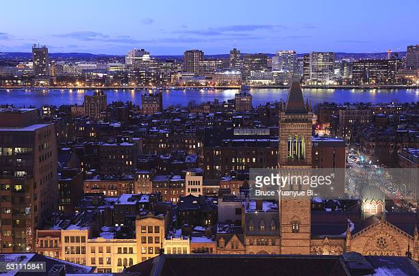 night view of back bay and charles river - cambridge massachusetts stock pictures, royalty-free photos & images