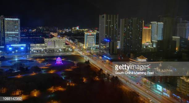 Night view of Baotou city, Inner Mongolia, on Nov. 17, 2017. The metro construction in Baotou city has been suspended after Yu Zhengzheng, chairman...