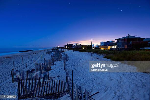 Night View of Beach and Row of Beach Houses