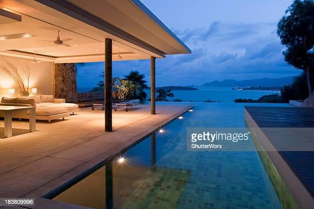 Night view of beautiful villa on island
