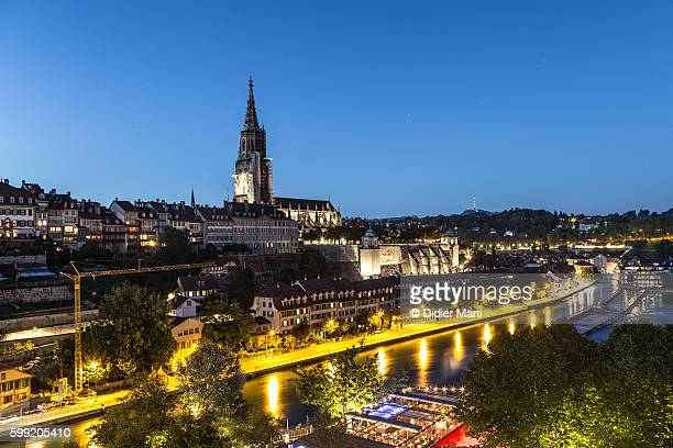 A night view of Berne old town in Switzerland capital city.