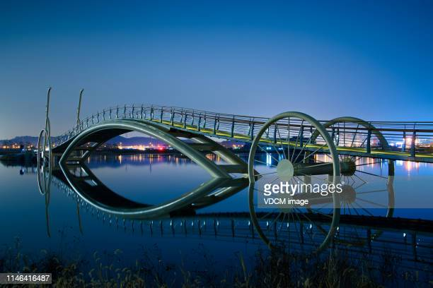 night view of bicycle bridge in siheung, gyeonggi province  kvd702 - korea stock pictures, royalty-free photos & images