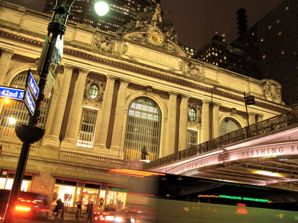 Night view of blurred motion traffic and Grand Central Station building
