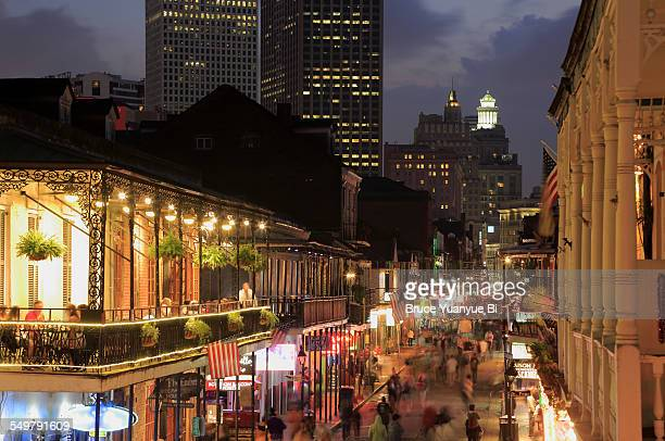 Night view of Bourbon Street