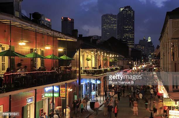Night view of Bourbon Street