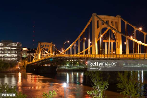 Night view of bridge over Allegheny River in Pittsburgh