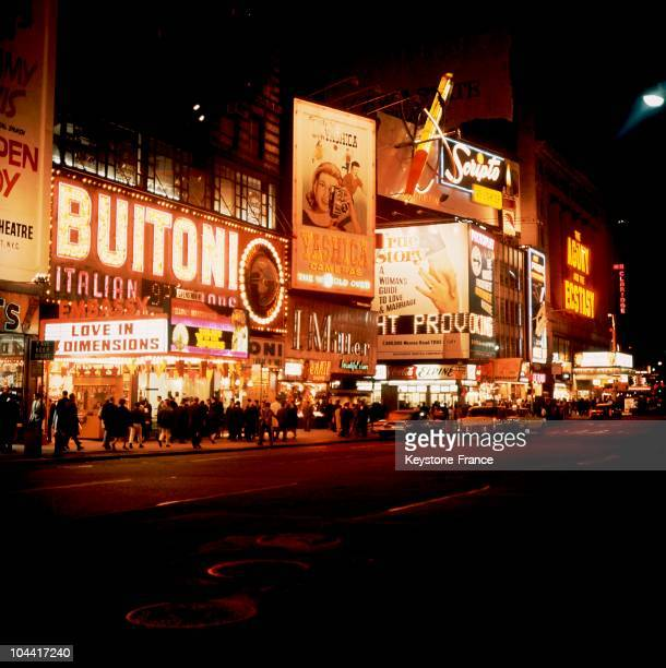 A night view of Broadway avenue and Times Square in New York in the 1970's