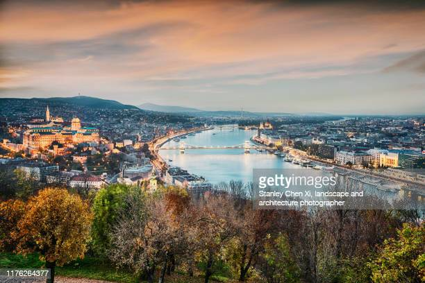 night view of budapest skyline in autumn - budapest stock pictures, royalty-free photos & images