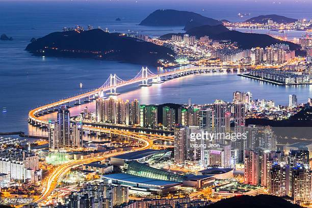 night view of busan city - south korea stock pictures, royalty-free photos & images