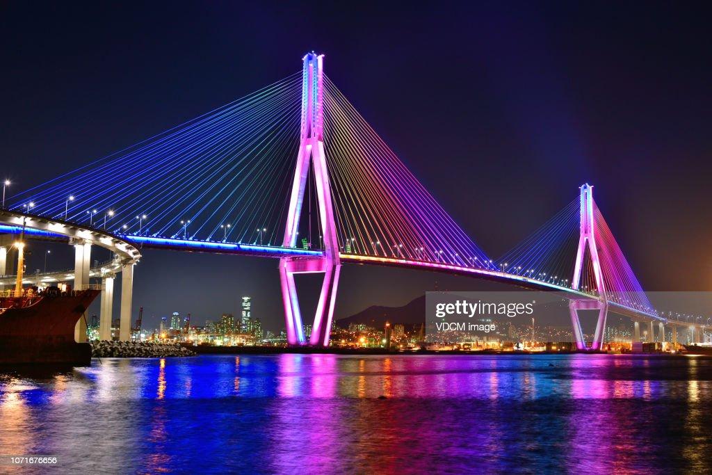 Night view of Busan North bridge Grand Bridge VD713 : Stock Photo