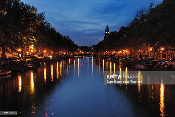 Night view of canal in Amsterdam