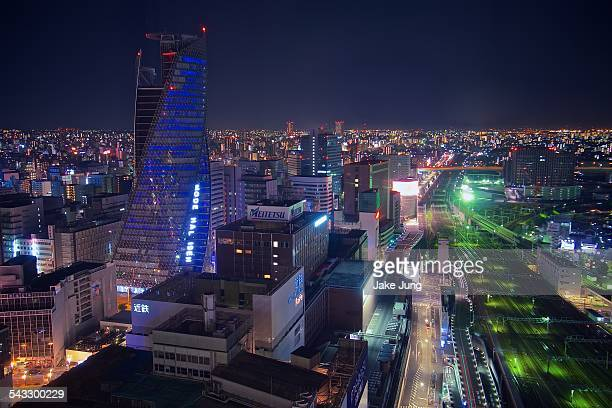 Night view of central Nagoya cityscape