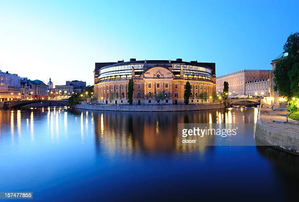 night view of central stockholm - parliament stock pictures, royalty-free photos & images