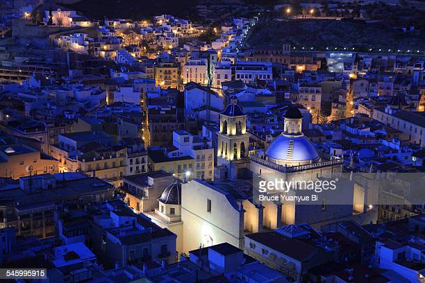 night view of city of alicante - alicante stock pictures, royalty-free photos & images