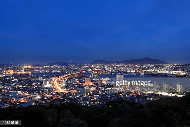 night view of cityscape of kitakyushu, kitakyushu, fukuoka, japan - 北九州市 ストックフォトと画像