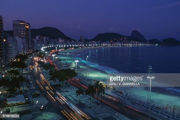 Night view of Copacabana beach Rio de Janeiro Brazil