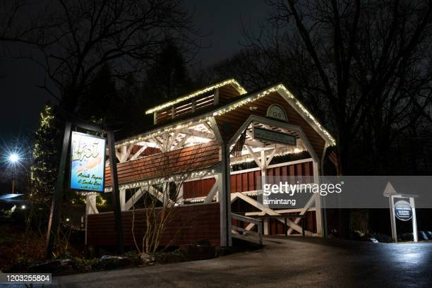 night view of covered bridge in the historic section of skippack township - montgomery county pennsylvania stock pictures, royalty-free photos & images