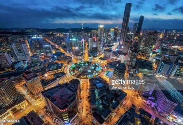 Night view of Dalian city.