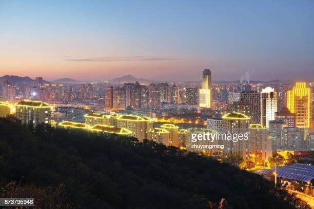 Night view of Dalian urban skyline