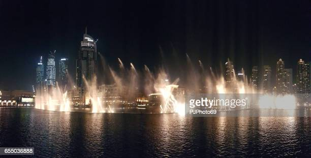 Night view of dancing fountains in Dubai Mall