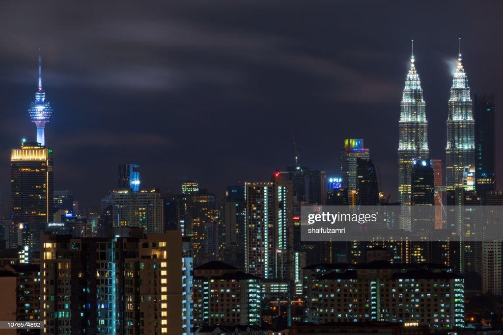 Night view of downtown Kuala Lumpur, a capital of Malaysia. : Stock Photo