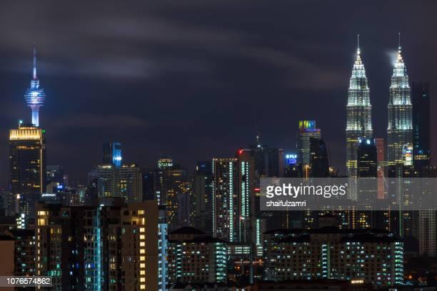 Night view of downtown Kuala Lumpur, a capital of Malaysia.
