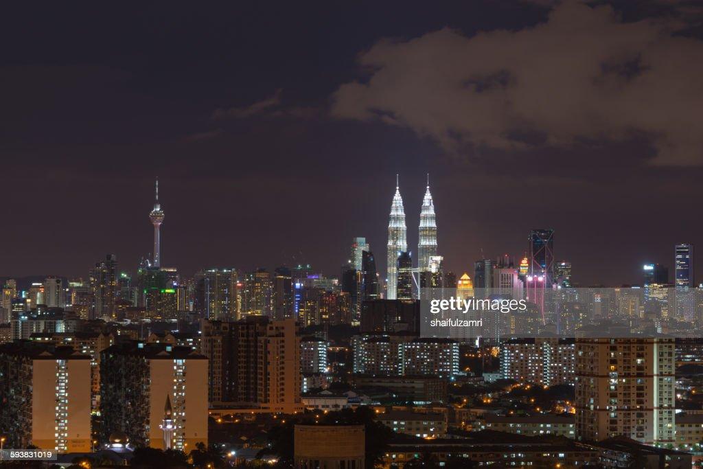Night view of downtown Kuala Lumpur in Malaysia : Stock Photo