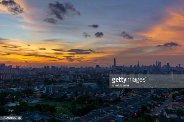 Night view of downtown Kuala Lumpur, Malaysia.