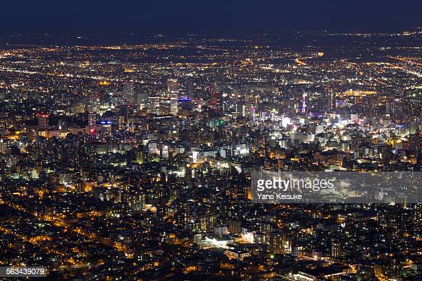Night view of downtown Sapporo
