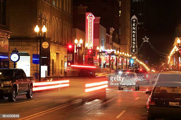 night view of downtown street - knoxville tennessee stock pictures, royalty-free photos & images