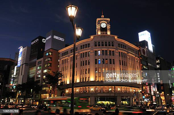 night view of downtown tokyo - ginza stock pictures, royalty-free photos & images