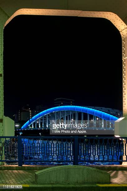 night view of eitai bridge - 永代橋 ストックフォトと画像