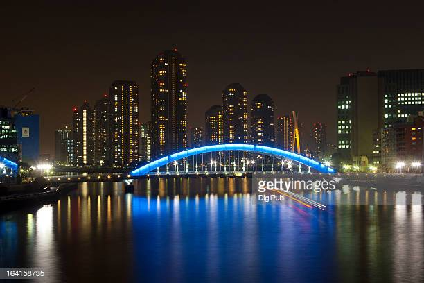 night view of eitaibashi and high-rises in tsukuda - 永代橋 ストックフォトと画像