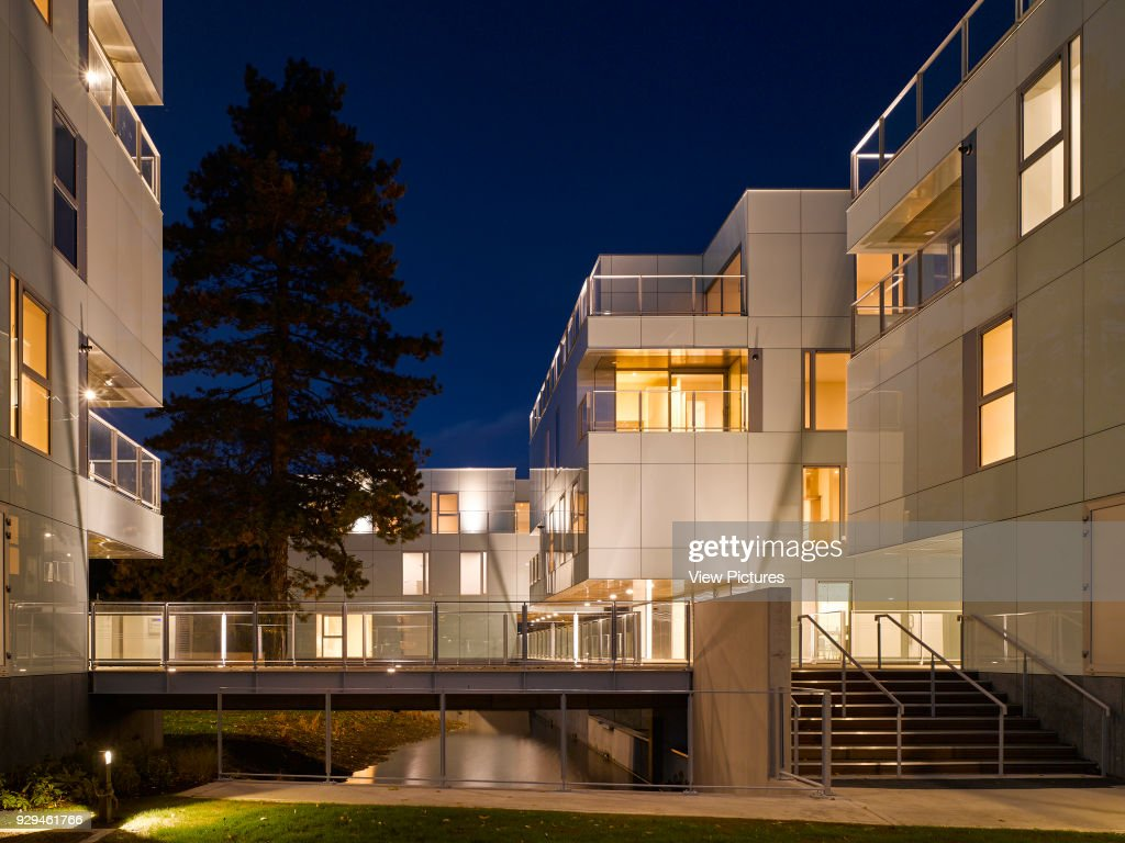 Night View Of Exterior Showing Stairway And Walkway Over River. Dunluce  Apartments, Ballsbridge,