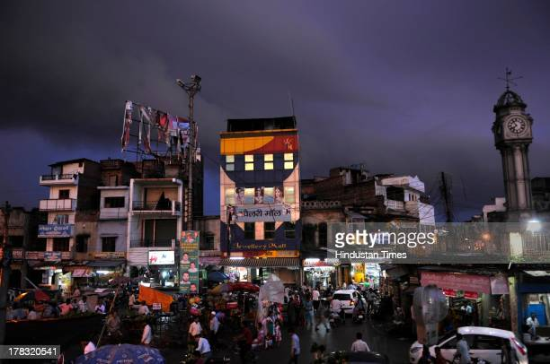Night view of Faizabad city market on August 28, 2013 in Ayodhya, India. Faizabad is the old capital of Awadh, is the headquarters of Faizabad...