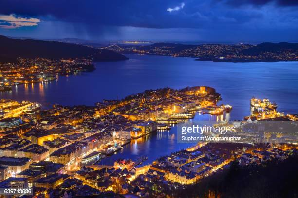 Night view of fjord town in Bergen, Norway