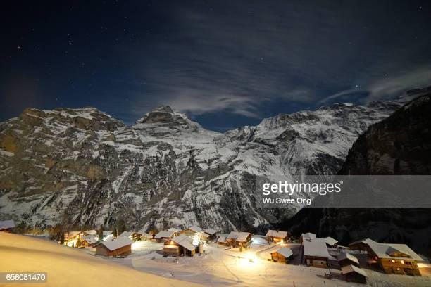 Night View of Gimmelwald in Winter