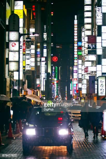 Night View of Ginza in the Rain