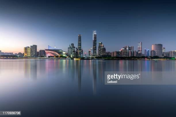 night view of guangzhou - guangzhou stock-fotos und bilder