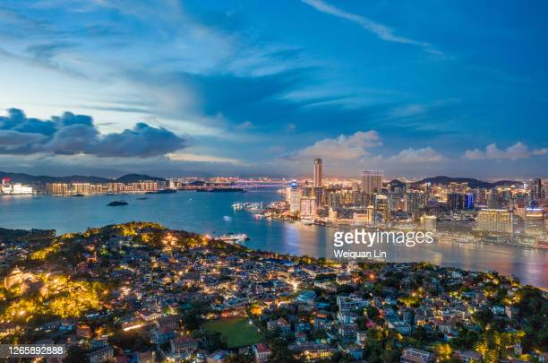night view of gulangyu island in xiamen, fujian - delhi stock pictures, royalty-free photos & images