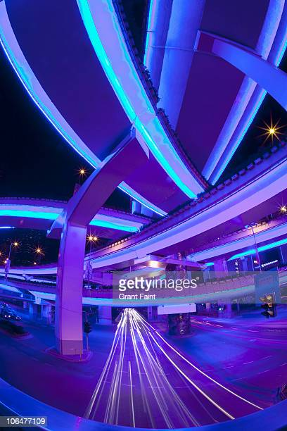 night view of highway overpasses. - road junction stock pictures, royalty-free photos & images