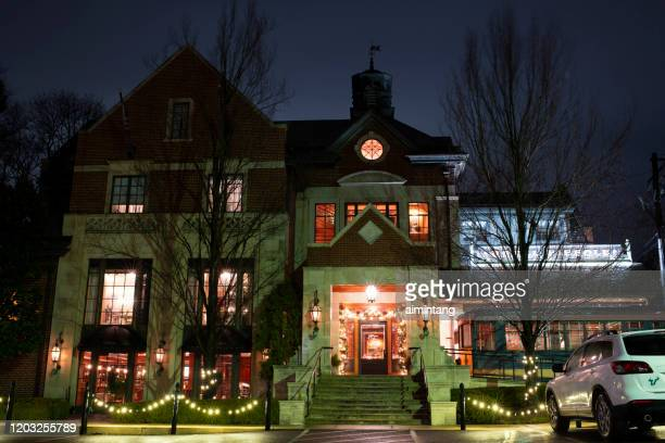 night view of hotel fiesole in the historic section of skippack township - montgomery county pennsylvania stock pictures, royalty-free photos & images